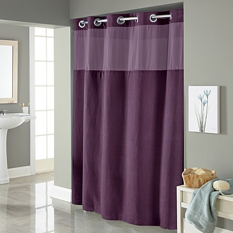 Buy Hookless Waffle 71 Inch X 86 Inch Long Fabric Shower Curtain In Purple From Bed Bath Beyond