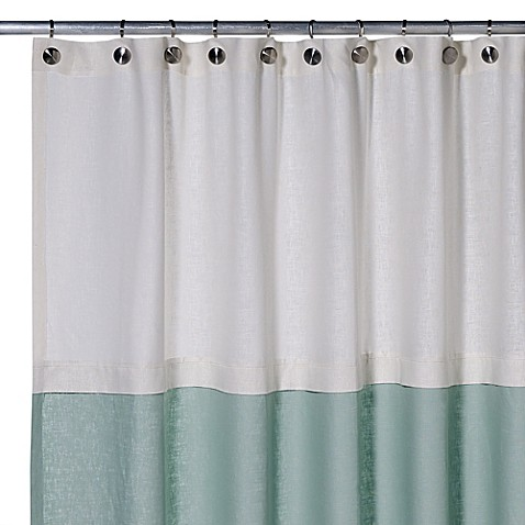 Buy Soho 50 Inch X 84 Inch Linen Stall Shower Curtain In Pearl Aqua From Bed Bath Beyond