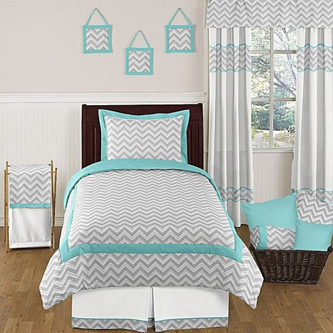 Sweet jojo designs zig zag bedding collection in turquoise - Grey and turquoise bedroom ideas ...