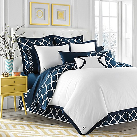 Jill Rosenwald Hampton Links Reversible Duvet Cover In Navy White Bed Bath Beyond