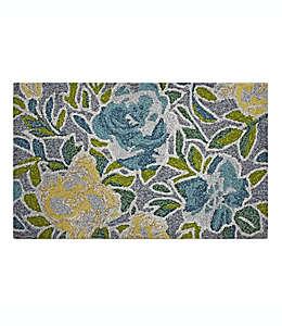 Tapete decorativo de polipropileno Devgiri Easy Care Garden Floral color azul/amarillo