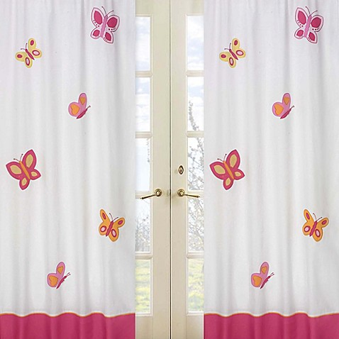 Buy sweet jojo designs pink and orange butterfly 42 inch x for Pink and orange bathroom ideas