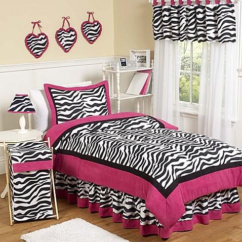 Sweet Jojo Designs Funky Zebra Comforter Set In Pink Bed