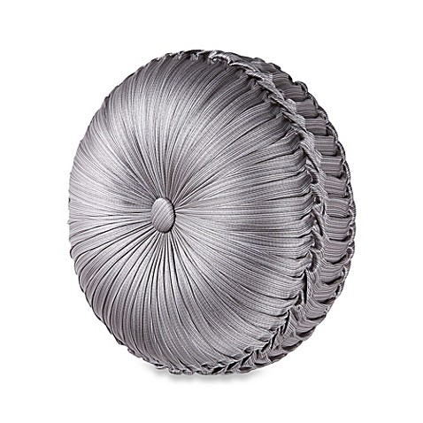 Tufted Round Decorative Pillow : J. Queen New York Luxembourg Tufted Round Throw Pillow in Antique Silver - Bed Bath & Beyond