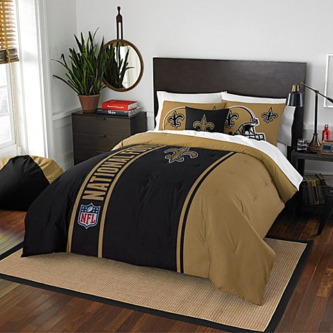 Nfl New Orleans Saints Embroidered Comforter Set Bed