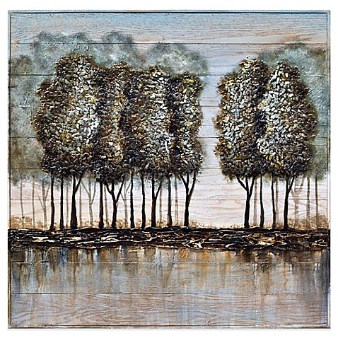 Wood And Metal Tree Oil Painting Frameless Wall Art Bed