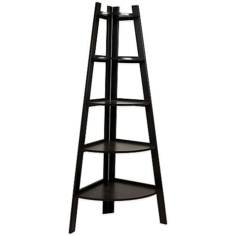 Wood Tiered Corner Ladder Bookcase Display In Espresso Bed Bath Amp Beyond