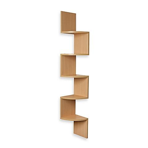 Buy Zig Zag Five Level Corner Wall Mount Shelf In Beech