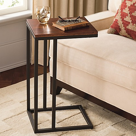 Black and tan hamilton narrow wood top c table bed bath for Sofa side table designs