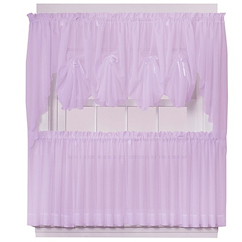 Emelia Sheer Window Curtain Panel And Valance In Lilac Bed Bath Beyond