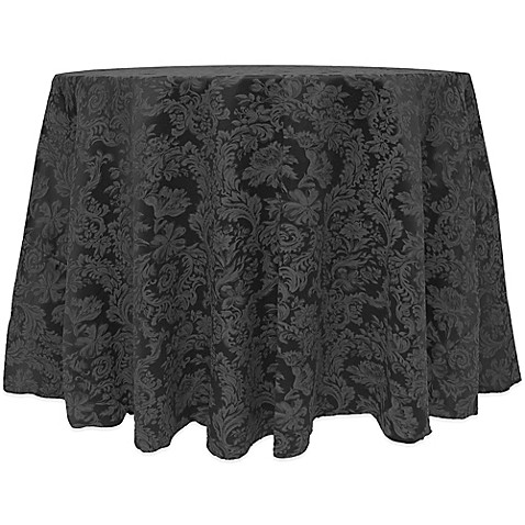 Buy Miranda Damask 90 Inch Round Tablecloth In Black From