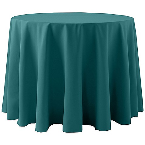 Buy Spun Polyester 90 Inch Round Tablecloth In Teal From