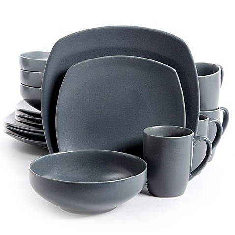 Gibson Paradiso 16-Piece Square Dinnerware Set in Grey at Bed Bath & Beyond in Cypress, TX | Tuggl