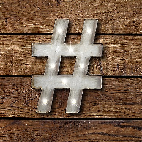 Buy Hashtag Led Marquee Sign From Bed Bath Amp Beyond