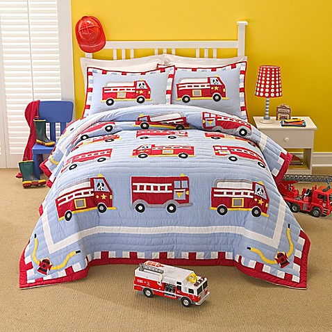 Buy Cotton Fire Truck Twin Quilt Set from Bed Bath & Beyond