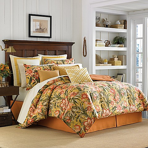 Tommy Bahama 174 Tropical Lily King Comforter Set In Golden