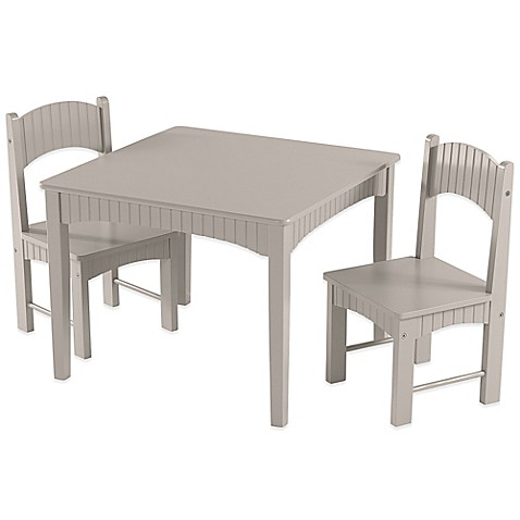 Tree house lane table and 2 chairs set in grey bed bath for Grey childrens chair