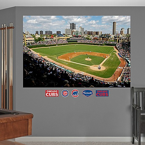 Buy fathead mlb chicago cubs stadium mural wall graphic for Baseball field mural