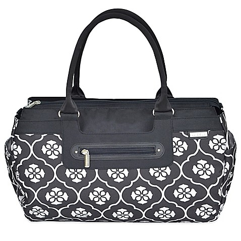 jj cole parker weekender diaper bag in black floret buybuy baby. Black Bedroom Furniture Sets. Home Design Ideas