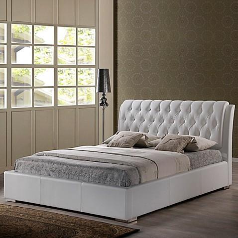 Baxton Studio Bianca Platform Bed With Tufted Headboard
