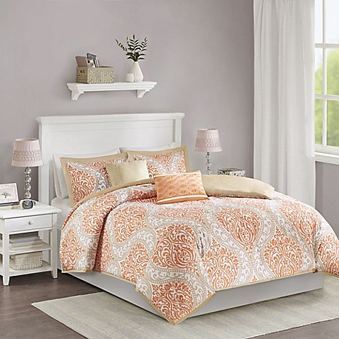 Senna Reversible Duvet Cover Set In Orange Bed Bath Amp Beyond