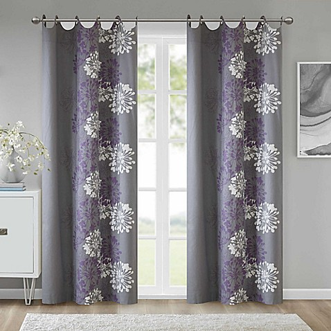 grommet window curtain panel in purple grey from bed bath beyond