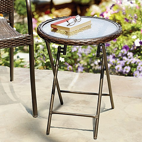 Stratford Wicker Folding Accent Table In Bronze