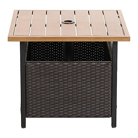 wicker patio furniture collection brushed wicker umbrella side table