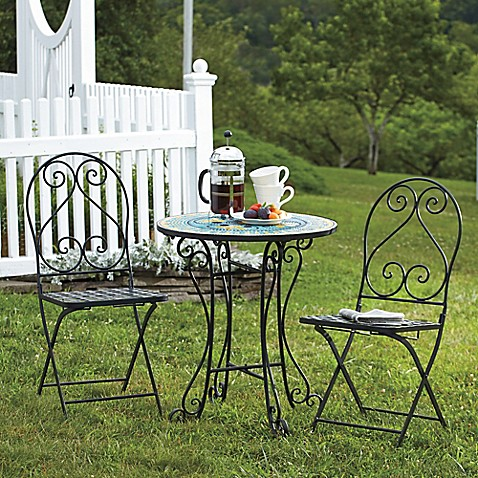 Mosaic 3 piece bistro set bed bath beyond for Bed bath and beyond patio furniture sets