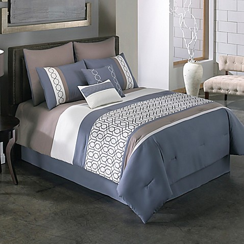 Covington 6 8 piece comforter set in blue bed bath beyond - Bed bath and beyond bedroom furniture ...