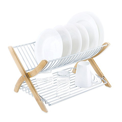 Umbra 174 Stack Dish Rack In Bamboo Nickel Bed Bath Amp Beyond