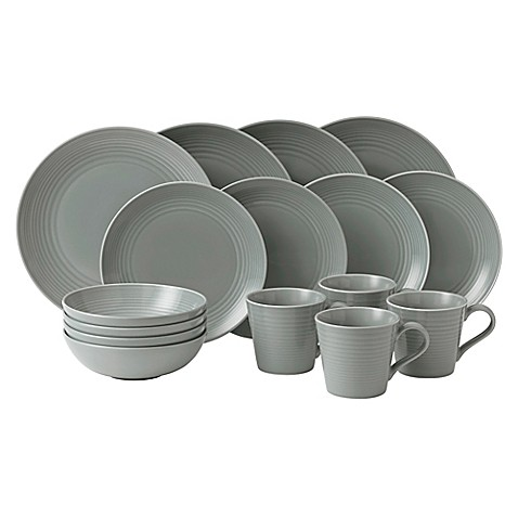 gordon ramsay by royal doulton maze 16 piece dinnerware set in dark grey bed bath beyond. Black Bedroom Furniture Sets. Home Design Ideas