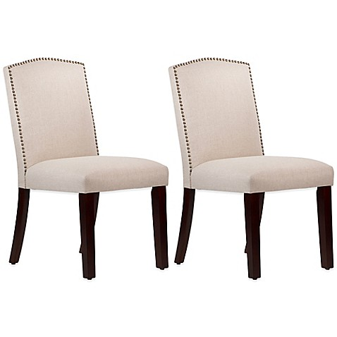 Roseyln Nail Button Arched Dining Chairs In Linen Talc