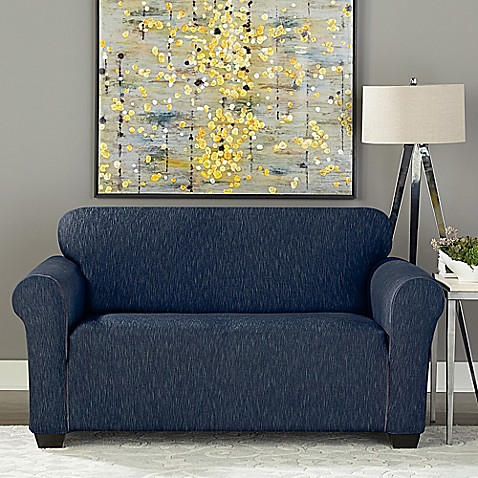 Sure Fit 174 Designer Denim 1 Piece Loveseat Slipcover Bed