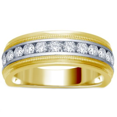 14K Yellow and White Gold Channel-Set Diamond Men #39;s Milgrain Wedding Band Collection