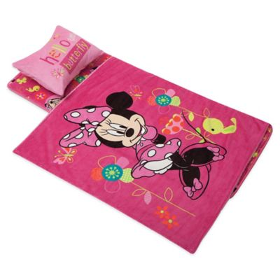 Disney Aquatopia Minnie Mouse Deluxe Memory Foam Nap Mat, Pillow and Blanket Set in Pink - Bed ...