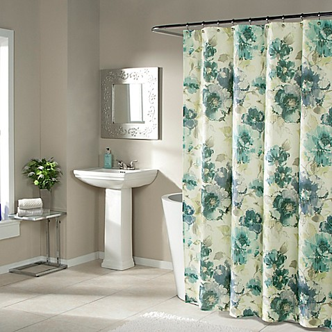 Buy Watermark Floral Shower Curtain In Blue From Bed Bath Beyond