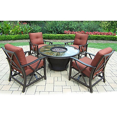 Oakland Living Sunray 5-Piece Fire Pit Conversation Set at Bed Bath & Beyond in Cypress, TX | Tuggl