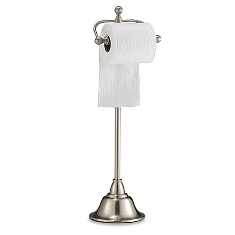 Deluxe Pedestal Satin Nickel Toilet Paper Stand Bed Bath Beyond