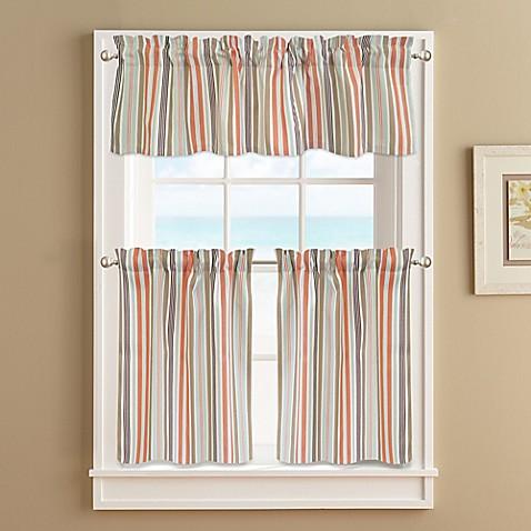 Regatta Stripe Window Curtain Tier Pair In Coral Bed