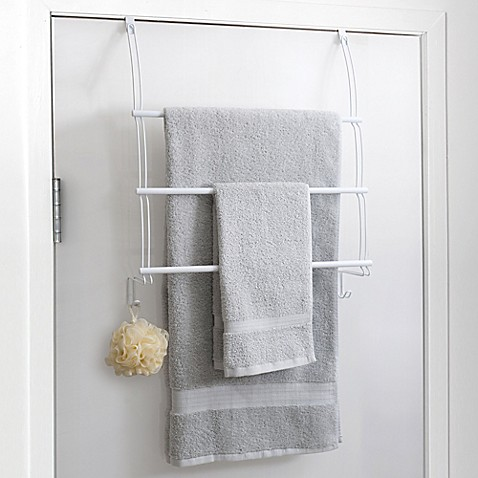 buy totally bath over the door towel bar in white from bed bath beyond. Black Bedroom Furniture Sets. Home Design Ideas