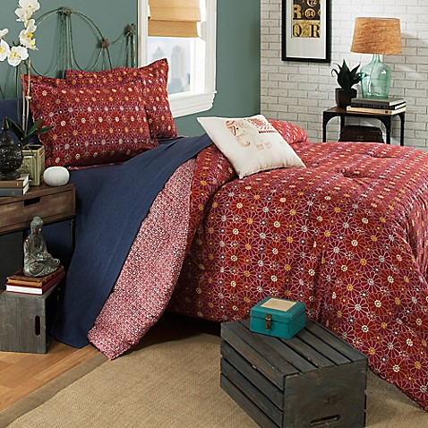 Brooklyn Flat Ceylon Reversible Comforter Set in Red at Bed Bath & Beyond in Cypress, TX | Tuggl