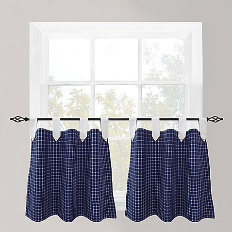 Buy Park B Smith Picnic 24 Inch Check Tab Top Cafe Curtain Pair In Navy From Bed Bath Beyond