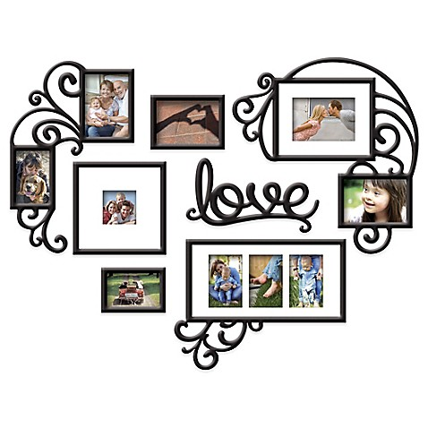 "Wallverbs™ 7-Piece ""Love"" Photo Frame Set in Satin Black at Bed Bath & Beyond in Cypress, TX 