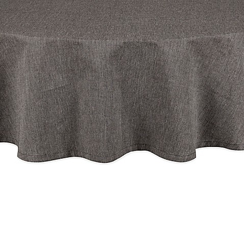 Buy Chambray 70 Inch Round Tablecloth In Black From Bed