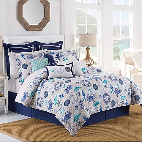 Williamsburg Barnegat Coastal Comforter Set In Blue Bed