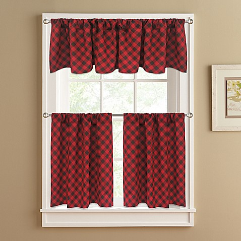 Lumberjack Window Curtain Tier Pair In Red Bed Bath Beyond