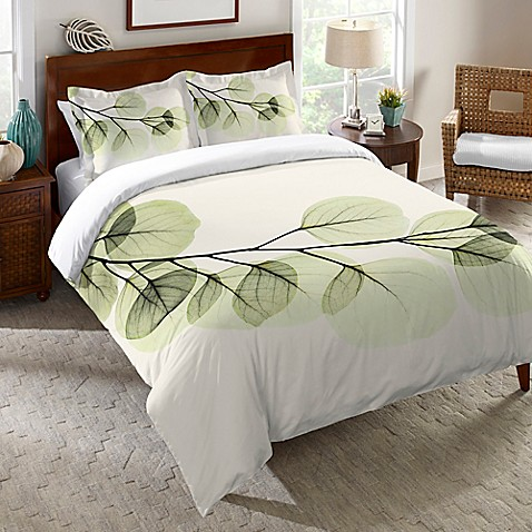 Laural Home 174 Eucalyptus X Ray Duvet Cover In Green Bed