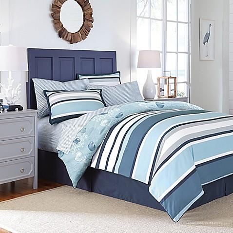 Cabana Stripe Reversible Comforter Set In Blue Bed Bath