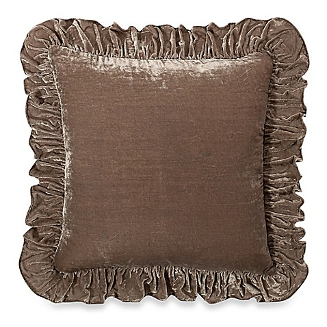 Wamsutta® Vintage Washed Velvet Square Throw Pillow in Linen | Tuggl